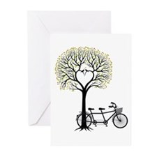 Heart tree with birds and tandem bicycle Greeting