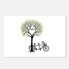 Heart tree with birds and tandem bicycle Postcards