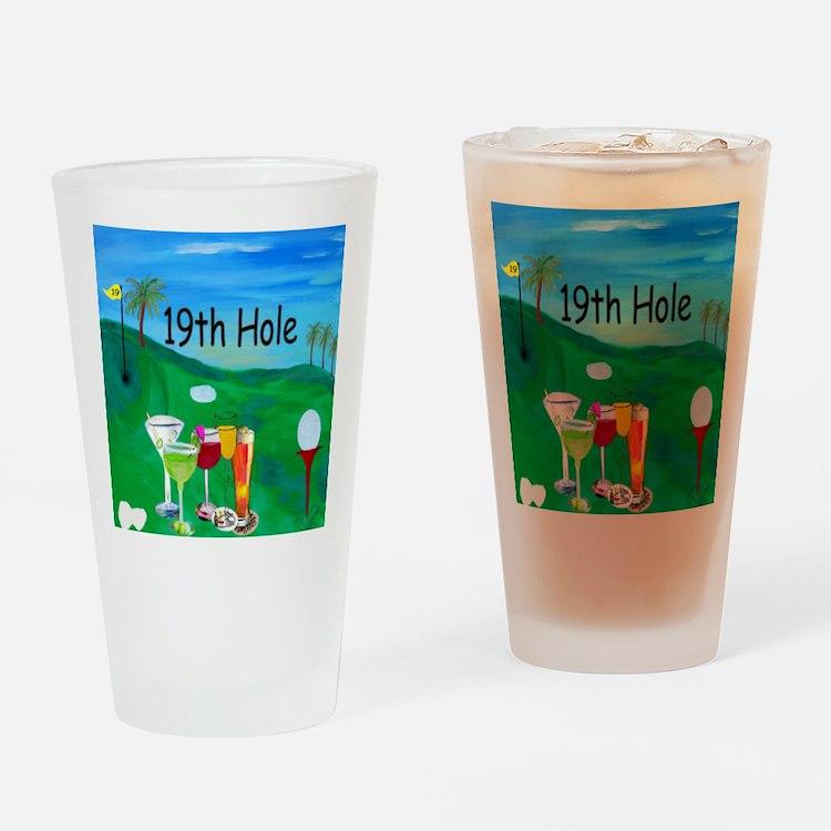 Golf 19th hole art Drinking Glass