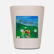Golf 19th hole art Shot Glass