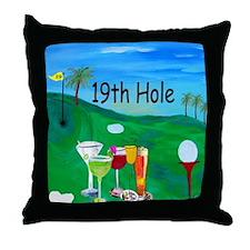Golf 19th hole art Throw Pillow