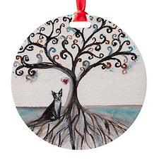 Boston Terrier Love Heart Tree Ornament