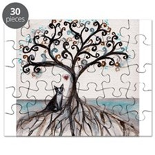 Boston Terrier Love Heart Tree Puzzle