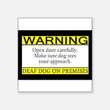 Warning Deaf Dog Rectangle Sticker