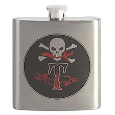 Jolly Roger T Monogram Initial Flask