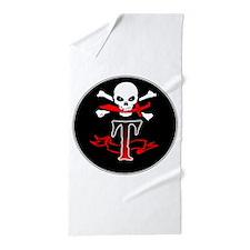 Jolly Roger T Monogram Initial Beach Towel