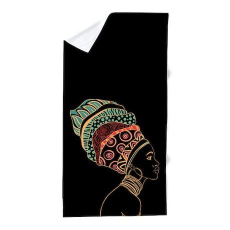 African Woman Beach Towel