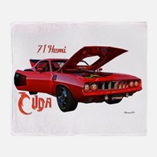 Red Hemi Cuda Throw Blanket