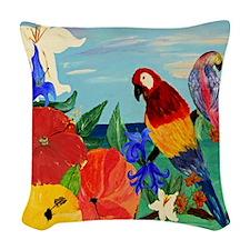 Parrot Garden Woven Throw Pillow