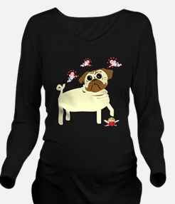 pug_vday_white.png Long Sleeve Maternity T-Shirt
