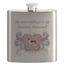 My heart belongs...American Foxhound Flask