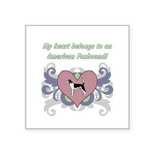 "My heart belongs...American Square Sticker 3"" x 3"""