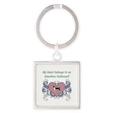 My heart belongs...American Foxhou Square Keychain