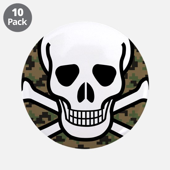 "Skull and Crossbones 3.5"" Button (10 pack)"