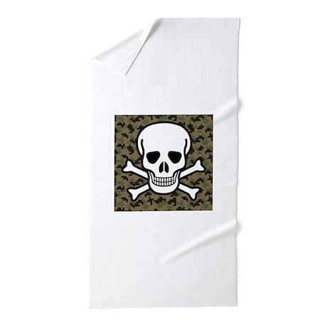 Skull and Crossbones Beach Towel by FrecklesCat