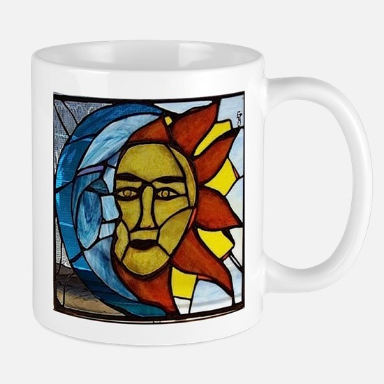 Moon and Sun Stained Glass Panel Mugs
