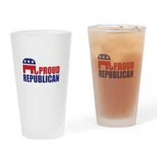 Proud Republican Elephant Logo Drinking Glass