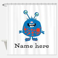 Blue Monster Shower Curtain