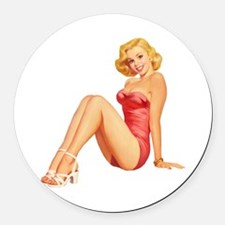 Pin Up Bathing Beauty Round Car Magnet
