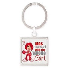 MDS Messed With Wrong Girl Square Keychain