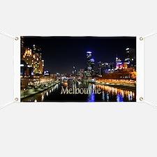 Melbourne City Light Yarra River Reflection Banner