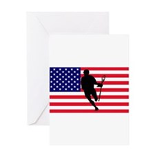 Lacrosse Flag IRock America Greeting Cards