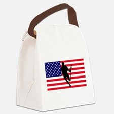 Lacrosse Flag IRock America Canvas Lunch Bag