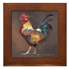 Framed Tile Rooster with horns