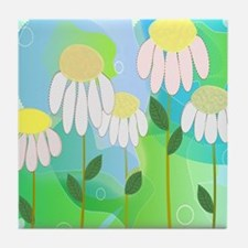 Whimsical Daisies Tile Coaster