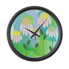 Whimsical Daisies Large Wall Clock