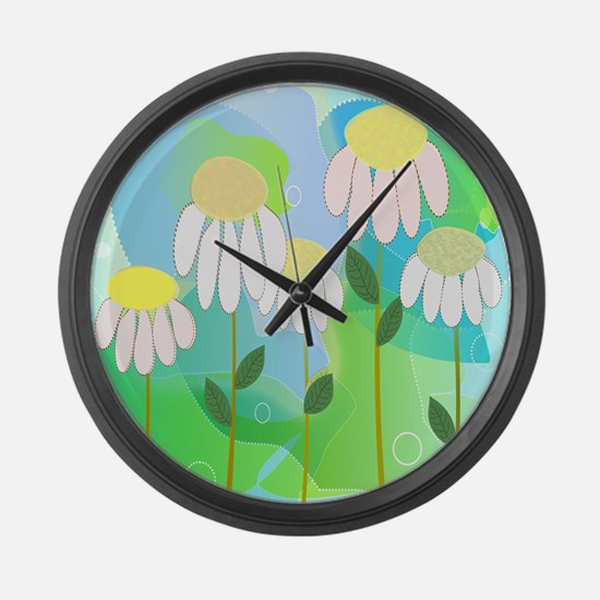 Whimsical Daisies Large Wall Clock