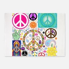 Peace Paisley Collage 5'x7'Area Rug