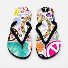 Peace Paisley Collage Flip Flops