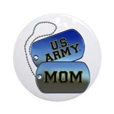U.S. Army Mom Dog Tags Round Ornament