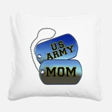 U.S. Army Mom Dog Tags Square Canvas Pillow