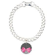 Zebra Polka Dot Pink Ribbon Bracelet