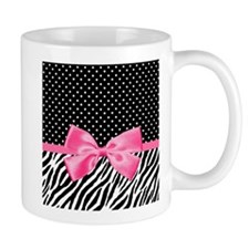 Zebra Polka Dot Pink Ribbon Mugs