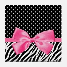 Zebra Polka Dot Pink Ribbon Tile Coaster