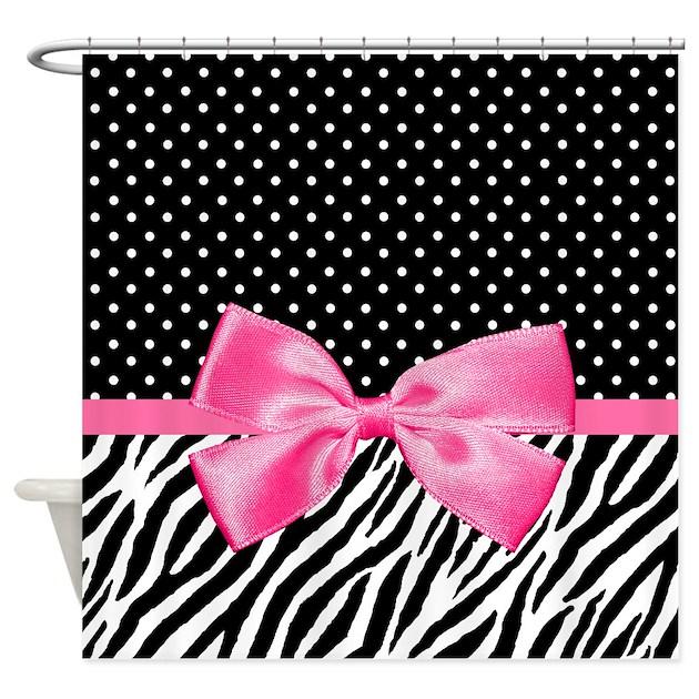 Zebra Polka Dot Pink Ribbon Shower Curtain By