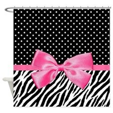 Zebra Polka Dot Pink Ribbon Shower Curtain