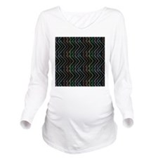 Neon lines black bac Long Sleeve Maternity T-Shirt