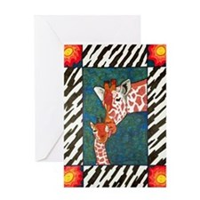 Mother and baby giraffe Greeting Cards