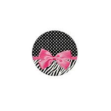 Zebra Polka Dot Pink Ribbon Mini Button (10 pack)