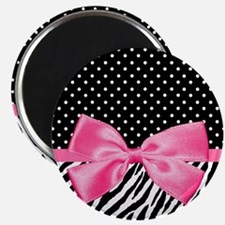 Zebra Polka Dot Pink Ribbon Magnets