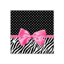 Zebra Polka Dot Pink Ribbon Sticker