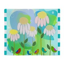 Daisies and Birds 1 Throw Blanket