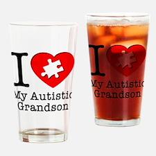 Heart Autistic Grandson Drinking Glass