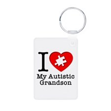 Heart Autistic Grandson Keychains