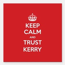 "Trust Kerry Square Car Magnet 3"" x 3"""