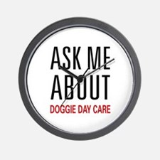 Ask Doggie Day Care Wall Clock